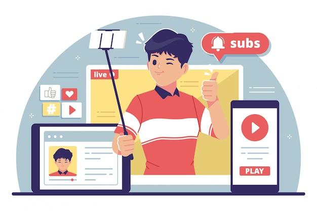 Illustrazione design piatto creatore di contenuti Vettore Premium