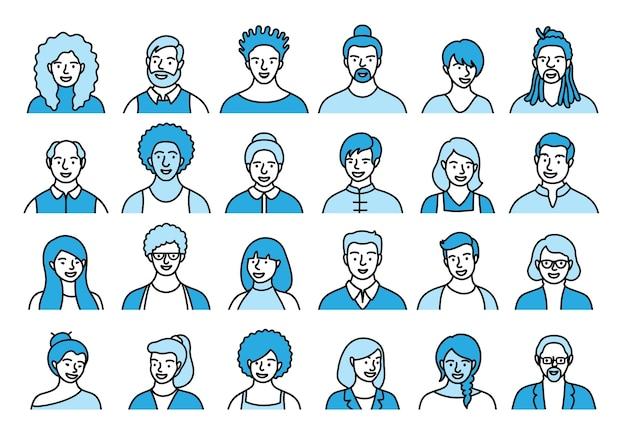 Insieme di contorno di persone, avatar, teste di persone di diversa etnia ed età in stile piatto. la gente multi nazionalità affronta la raccolta delle icone della linea della rete sociale. Vettore Premium