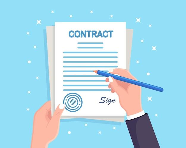 Firma del contratto. man mano tenere documenti e penna Vettore Premium