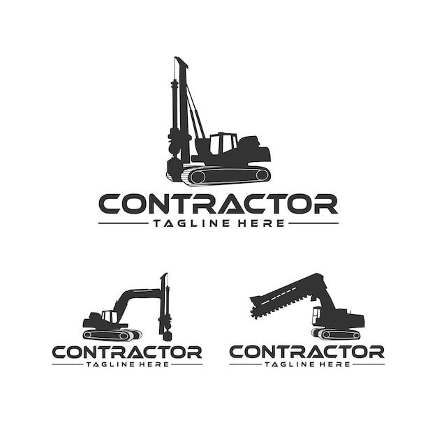 Appaltatore, scavatore di trincee e ispirazione per il design di un impianto di perforazione Vettore Premium