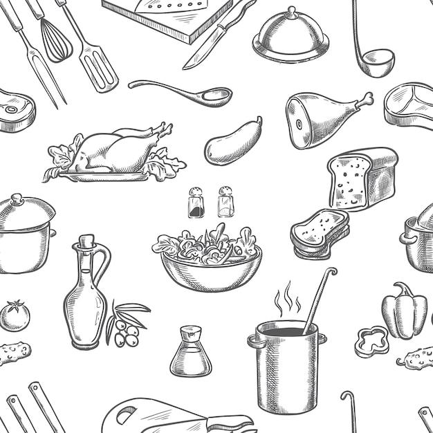 Cuoco Cucina Ingredienti E Disegno A Mano Dell Attrezzatura Vettore Premium