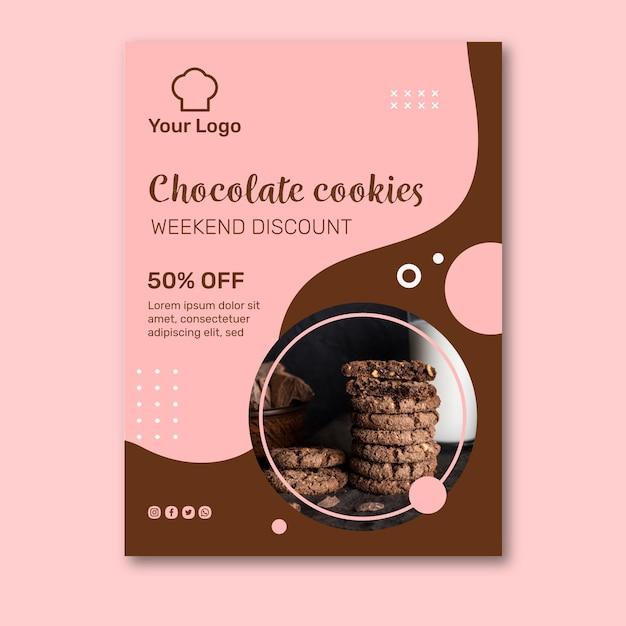 Modello di poster pubblicitario di biscotti Vettore Premium