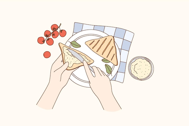Cucina, preparazione del cibo, concetto di colazione Vettore Premium
