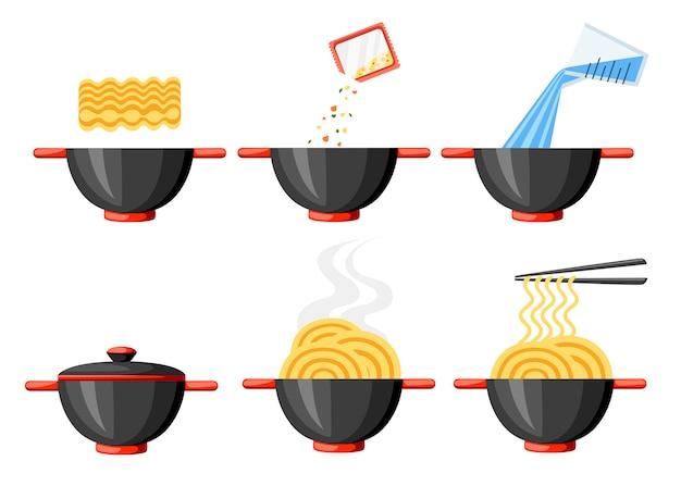 Istruzioni di cucina. noodles istantanei. illustrazione piatta. ciotola e bacchette nere. illustrazione isolato su sfondo bianco. Vettore Premium