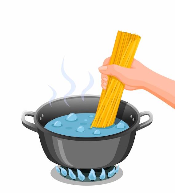 Cucinare gli spaghetti. la mano ha messo gli spaghetti sulla pentola dell'acqua bollente per l'illustrazione di istruzioni del cuoco della pasta nel vettore del fumetto isolato Vettore Premium