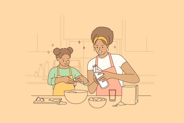 Cucinare insieme e trascorrere del tempo con il concetto di bambini Vettore Premium