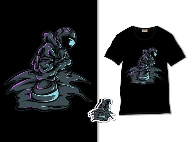 Raffreddare illustrazione astronauta con design t-shirt Vettore Premium