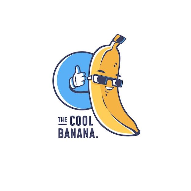 Cool logo personaggio banana Vettore Premium