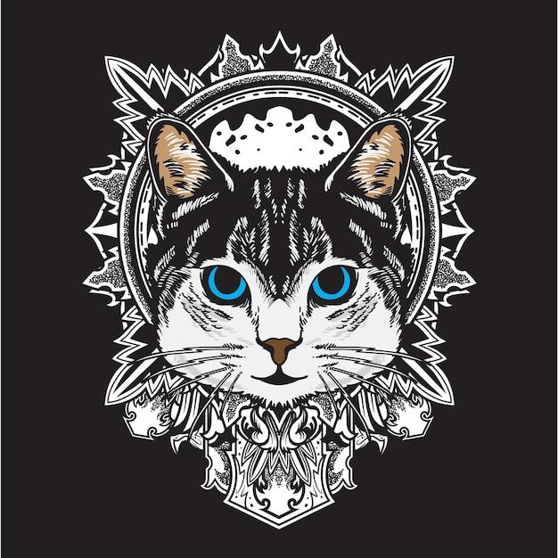 Cool black white cat flower mandala illustrazione Vettore Premium