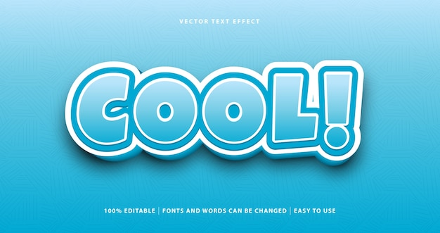 Fantastico effetto di testo in stile colorato blu. Vettore Premium