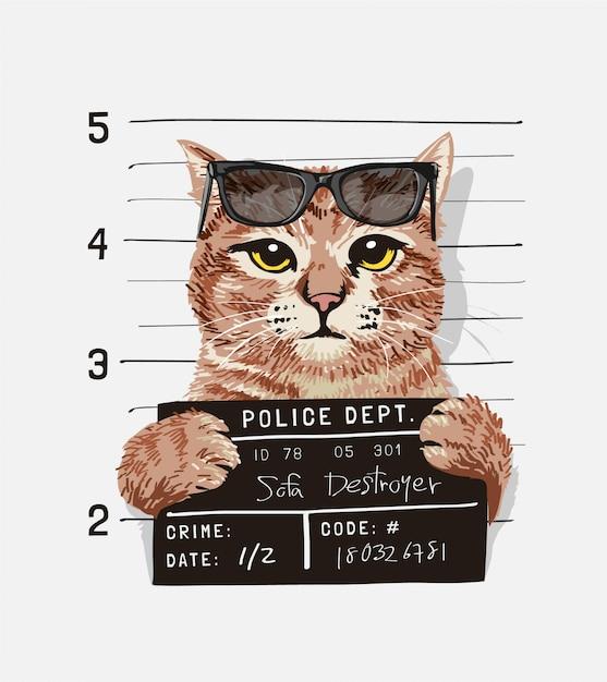 Un simpatico gatto con gli occhiali da sole tenendo l'illustrazione del segno di foto segnaletica Vettore Premium