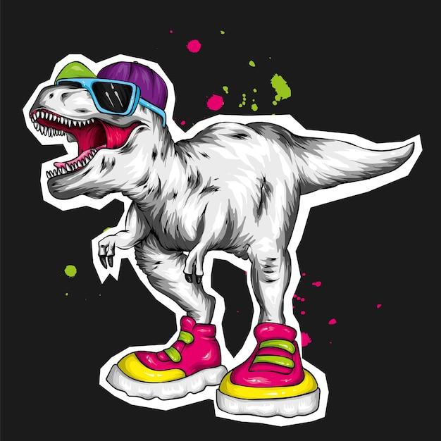 Fantastico dinosauro con berretto, occhiali e scarpe da ginnastica. Vettore Premium