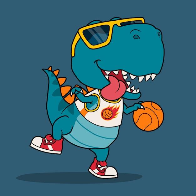 Fantastico dinosauro che gioca a basket. Vettore Premium