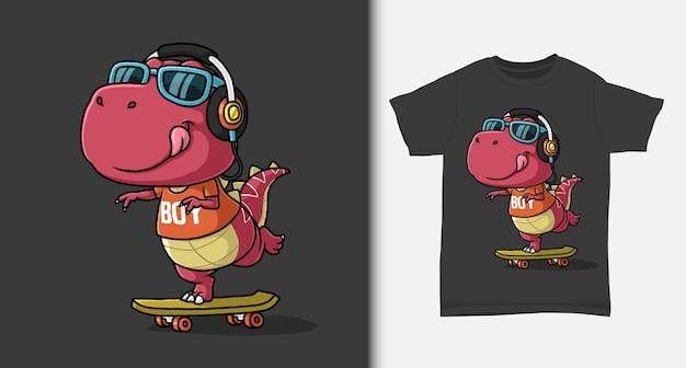 Fantastico dinosauro che gioca a skateboard con design tshirt Vettore Premium