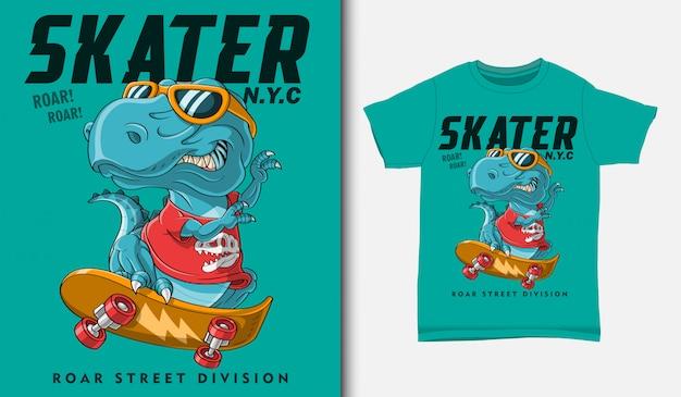 Dinosauro freddo che gioca l'illustrazione di skateboard con progettazione della maglietta, disegnata a mano Vettore Premium