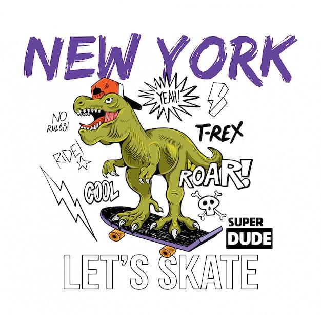 Bel tizio t-rex tyrannosaurus rex dino dinosauro in sella a skate board new york. illustrazione del personaggio dei cartoni animati fondo bianco isolato per il manifesto dell'autoadesivo dei vestiti della maglietta di progettazione della stampa Vettore Premium