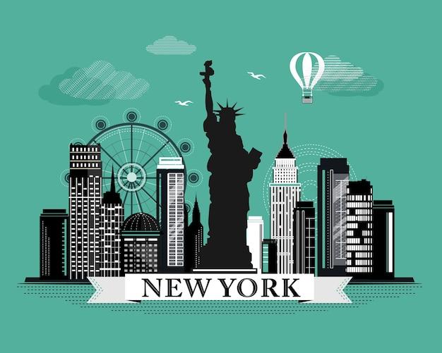 Raffreddare poster grafico skyline di new york city con elementi dettagliati dall'aspetto retrò paesaggio di new york con punti di riferimento Vettore Premium