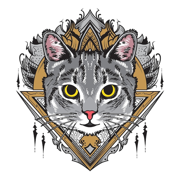 Illustrazione di mandala gatto grigio freddo Vettore Premium