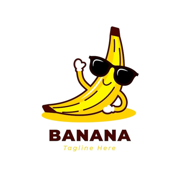 Cool smiley banana personaggio logo Vettore Premium