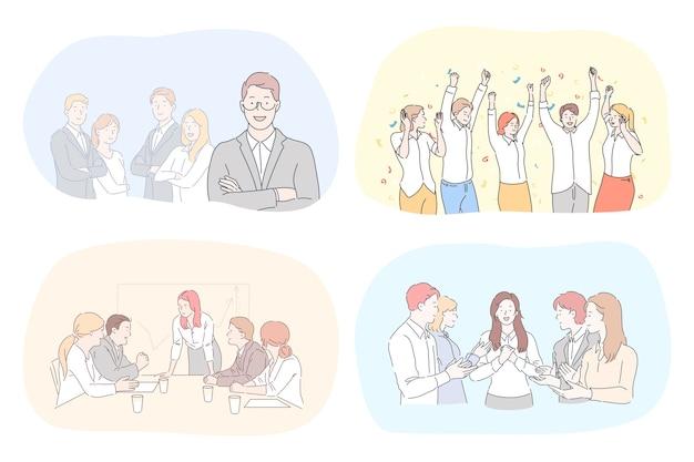 Illustrazione di persone di cooworking. Vettore Premium
