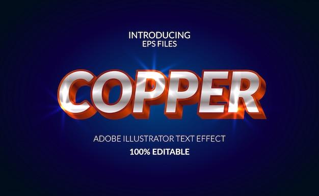 Effetto testo di colore brillante in metallo cromo rame. testo e carattere modificabili. effetto brillante lucido Vettore Premium