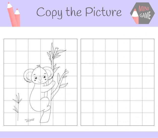 Copia l'immagine: cara kuala. libro da colorare. gioco educativo per bambini. , Vettore Premium