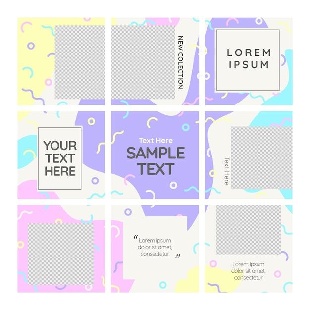 Copia spazio post instagram puzzle feed template Vettore Premium