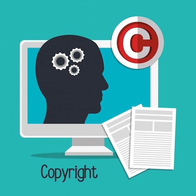 Disegno del simbolo del copyright Vettore Premium