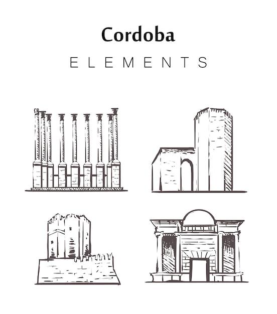 Cordoba set di edifici Vettore Premium