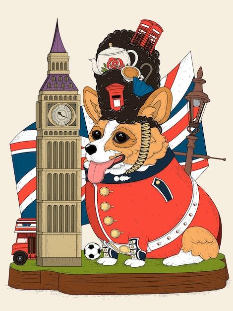 Cane corgi ed elementi britannici per il turismo, colorati Vettore Premium