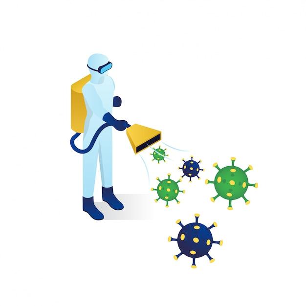 Illustrazione isometrica combattente virus corona Vettore Premium