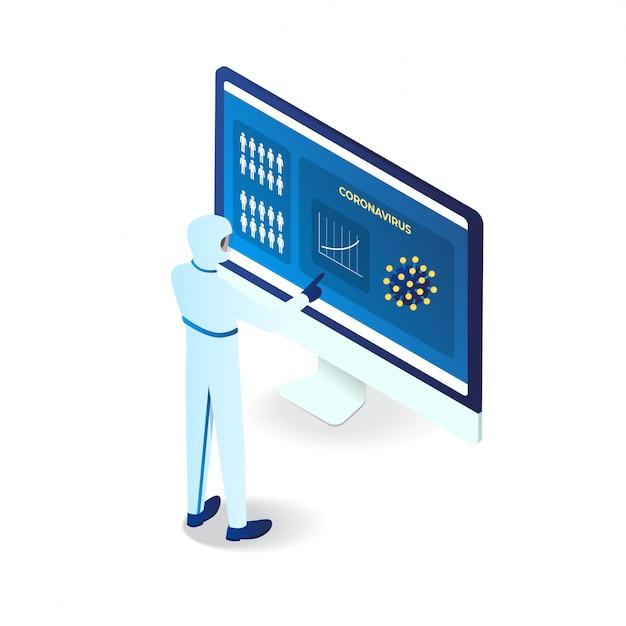 Virus della corona identificato da un medico in un'illustrazione isometrica del computer 3d Vettore Premium