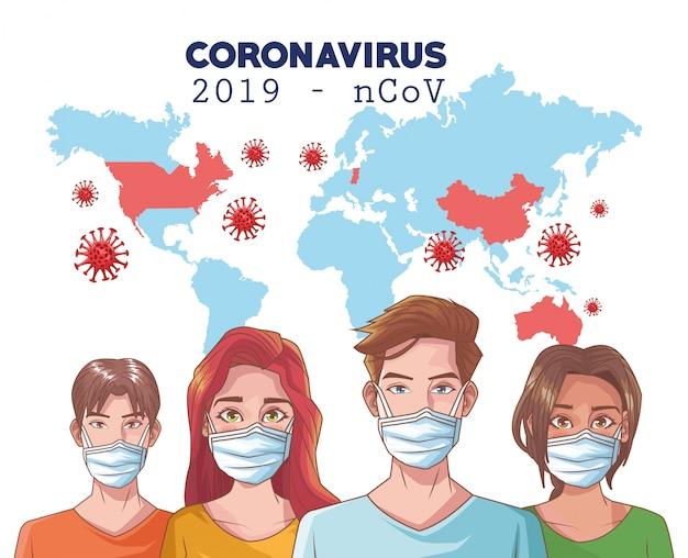 Infografica di coronavirus con persone che usano maschera e mappa del mondo Vettore Premium