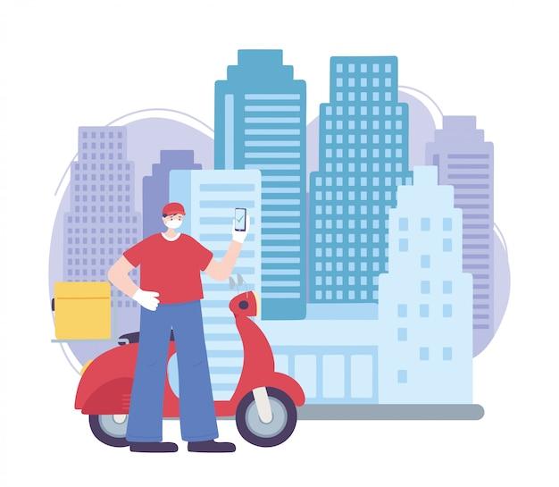 Pandemia di coronavirus, servizio di consegna, uomo di consegna con smartphone e scooter, indossare maschera medica protettiva Vettore Premium