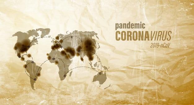 Mappa di pandemia di coronavirus su vecchia carta marrone. Vettore Premium