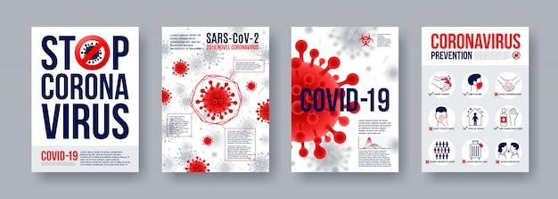 Poster di coronavirus impostato con elementi di infografica. nuovi banner coronavirus 2019-ncov. concetto di pericolosa pandemia di covid-19. Vettore Premium