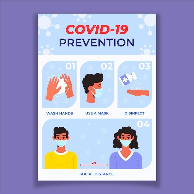Poster di prevenzione del coronavirus Vettore Premium