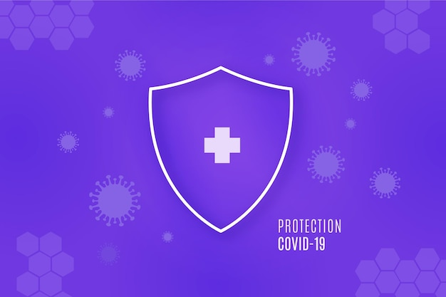 Sfondo scudo di protezione contro il coronavirus Vettore Premium