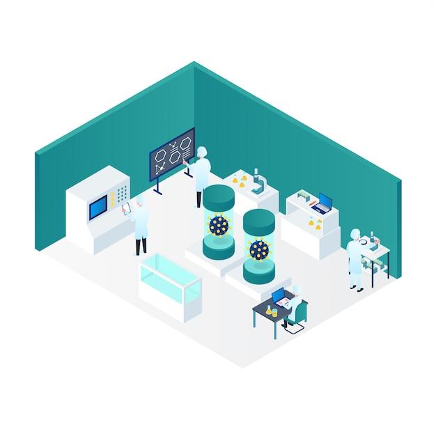 Ricerca di coronavirus da medici nell'illustrazione isometrica del laboratorio 3d Vettore Premium