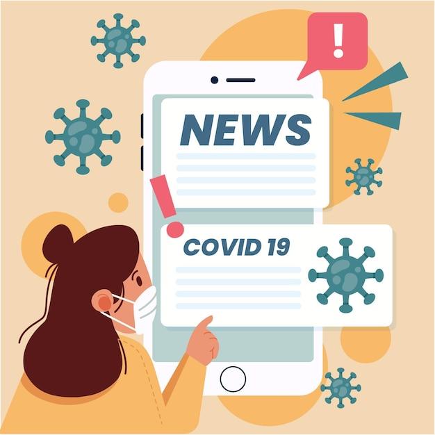 Illustrazione dell'aggiornamento del coronavirus Vettore Premium
