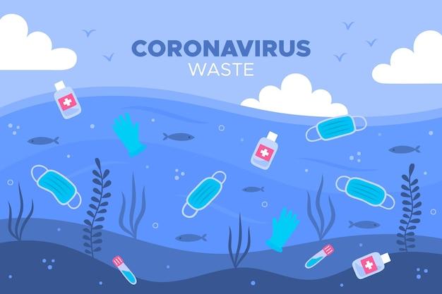 Rifiuti di coronavirus - sfondo Vettore Premium