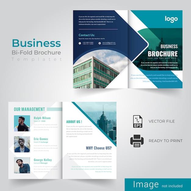 Modello di brochure aziendale bi-fold Vettore Premium