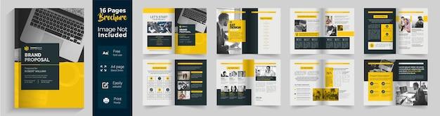 Modello di brochure di 16 pagine per proposta di marchio aziendale con layout giallo e scuro Vettore Premium