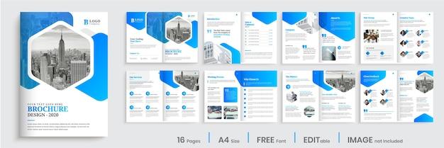 Modello di progettazione brochure aziendale con moderne forme sfumate blu Vettore Premium