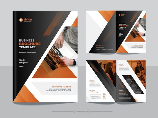 Modello di brochure bifold di affari aziendali con disegno astratto Vettore Premium