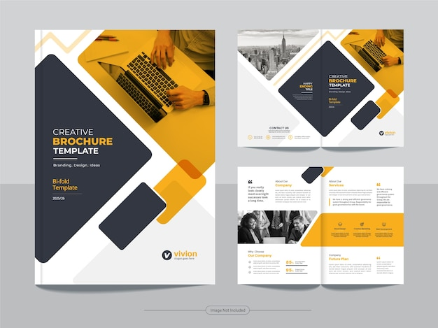 Modello di brochure bifold di affari aziendali con disegno astratto di colore arancione Vettore Premium
