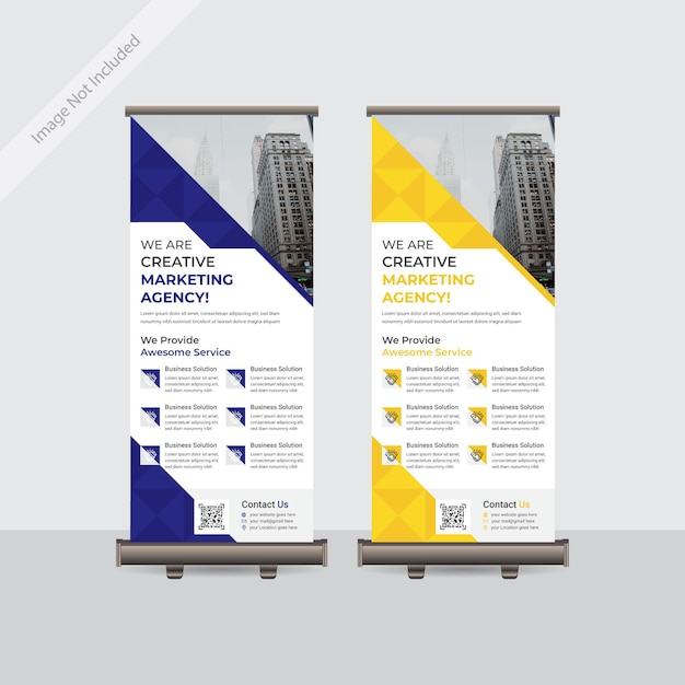 Business aziendale roll up o standee banner template design Vettore Premium