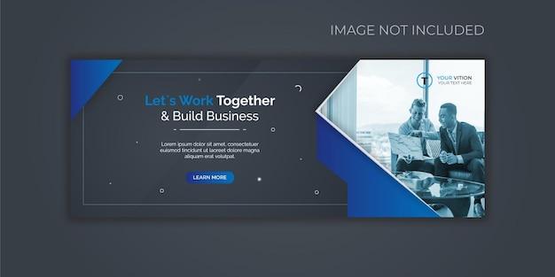 Modello di copertina di facebook per la promozione del marketing aziendale e digitale Vettore Premium