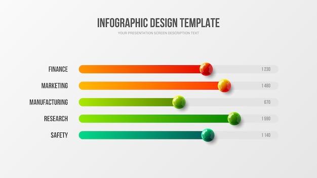 Corporate marketing infografico grafico a barre orizzontali palline colorate illustrazione design layout Vettore Premium
