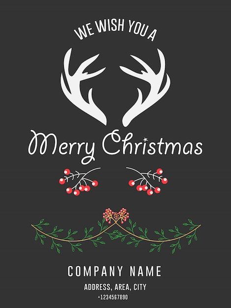Corporate merry christmas greeting invitation card Vettore Premium